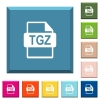 TGZ file format white icons on edged square buttons - TGZ file format white icons on edged square buttons in various trendy colors