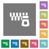 Horizontal zipper square flat icons - Horizontal zipper flat icons on simple color square backgrounds