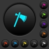 Single tomahawk dark push buttons with color icons - Single tomahawk dark push buttons with vivid color icons on dark grey background