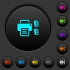 Printer and ink cartridges dark push buttons with color icons - Printer and ink cartridges dark push buttons with vivid color icons on dark grey background