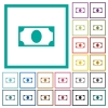 Single banknote flat color icons with quadrant frames - Single banknote flat color icons with quadrant frames on white background