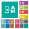 Mobile payment square flat multi colored icons - Mobile payment multi colored flat icons on plain square backgrounds. Included white and darker icon variations for hover or active effects.