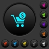 Checkout with Dollar cart dark push buttons with color icons - Checkout with Dollar cart dark push buttons with vivid color icons on dark grey background