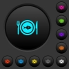 Fish for lunch dark push buttons with color icons - Fish for lunch dark push buttons with vivid color icons on dark grey background