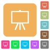 Easel with blank canvas flat icons on rounded square vivid color backgrounds. - Easel with blank canvas rounded square flat icons