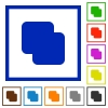 Add shapes flat framed icons - Add shapes flat color icons in square frames on white background