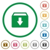 Archive flat icons with outlines - Archive flat color icons in round outlines on white background
