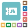 Toll discount coupon rounded square flat icons - Toll discount coupon white flat icons on color rounded square backgrounds