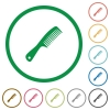 Comb with handle flat color icons in round outlines on white background - Comb with handle flat icons with outlines