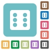 Dice six rounded square flat icons - Dice six white flat icons on color rounded square backgrounds