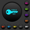Public key dark push buttons with color icons - Public key dark push buttons with vivid color icons on dark grey background