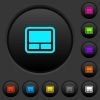 Laptop touchpad dark push buttons with color icons - Laptop touchpad dark push buttons with vivid color icons on dark grey background