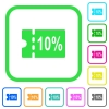 10 percent discount coupon vivid colored flat icons - 10 percent discount coupon vivid colored flat icons in curved borders on white background