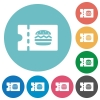 Fast food restaurant discount coupon flat round icons - Fast food restaurant discount coupon flat white icons on round color backgrounds