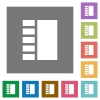 Vertical tabbed layout square flat icons - Vertical tabbed layout flat icons on simple color square backgrounds