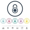 Locked round combination lock flat color icons in round outlines - Locked round combination lock flat color icons in round outlines. 6 bonus icons included.