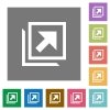 Open in new window square flat icons - Open in new window flat icons on simple color square backgrounds