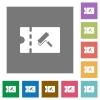 Paint shop discount coupon square flat icons - Paint shop discount coupon flat icons on simple color square backgrounds