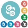 Euro new Shekel money exchange flat round icons - Euro new Shekel money exchange flat white icons on round color backgrounds