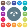 Two tomahawks flat white icons on round color backgrounds - Two tomahawks flat white icons on round color backgrounds. 17 background color variations are included.