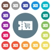 Cart discount coupon flat white icons on round color backgrounds - Cart discount coupon flat white icons on round color backgrounds. 17 background color variations are included.