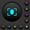 Camera selfie mode dark push buttons with color icons - Camera selfie mode dark push buttons with vivid color icons on dark grey background