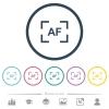 Camera autofocus mode flat color icons in round outlines - Camera autofocus mode flat color icons in round outlines. 6 bonus icons included.