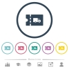 Transport discount coupon flat color icons in round outlines - Transport discount coupon flat color icons in round outlines. 6 bonus icons included.