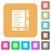 Document with content and scroll bars rounded square flat icons - Document with content and scroll bars flat icons on rounded square vivid color backgrounds.