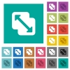 Merge shapes square flat multi colored icons - Merge shapes multi colored flat icons on plain square backgrounds. Included white and darker icon variations for hover or active effects.