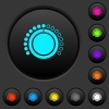 Volume control dark push buttons with vivid color icons on dark grey background - Volume control dark push buttons with color icons