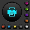 Wireless printer dark push buttons with vivid color icons on dark grey background - Wireless printer dark push buttons with color icons
