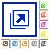 Open in new window flat framed icons - Open in new window flat color icons in square frames on white background