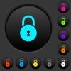 Locked round padlock with keyhole dark push buttons with color icons - Locked round padlock with keyhole dark push buttons with vivid color icons on dark grey background