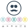 Glasses and mustache flat color icons in round outlines - Glasses and mustache flat color icons in round outlines. 6 bonus icons included.