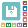 Unknown file rounded square flat icons - Unknown file white flat icons on color rounded square backgrounds