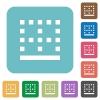 Bottom border rounded square flat icons - Bottom border white flat icons on color rounded square backgrounds