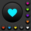 Heart card symbol dark push buttons with color icons - Heart card symbol dark push buttons with vivid color icons on dark grey background
