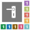 Left handed door handle with screws square flat icons - Left handed door handle with screws flat icons on simple color square backgrounds