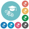Graduation ceremony flat white icons on round color backgrounds - Graduation ceremony flat round icons