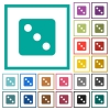 Dice three flat color icons with quadrant frames - Dice three flat color icons with quadrant frames on white background