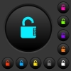 Unlocked combination lock with side numbers dark push buttons with color icons - Unlocked combination lock with side numbers dark push buttons with vivid color icons on dark grey background