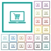 Webshop flat color icons with quadrant frames - Webshop flat color icons with quadrant frames on white background