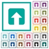 Upload flat color icons with quadrant frames - Upload flat color icons with quadrant frames on white background