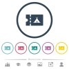 Camping discount coupon flat color icons in round outlines - Camping discount coupon flat color icons in round outlines. 6 bonus icons included.