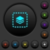 Place layer dark push buttons with color icons - Place layer dark push buttons with vivid color icons on dark grey background