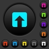 Upload dark push buttons with color icons - Upload dark push buttons with vivid color icons on dark grey background