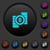 Bitcoins dark push buttons with vivid color icons on dark grey background - Bitcoins dark push buttons with color icons