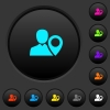 User location dark push buttons with color icons - User location dark push buttons with vivid color icons on dark grey background