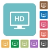 HD display white flat icons on color rounded square backgrounds - HD display rounded square flat icons